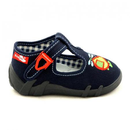Pantofi baieti cu elicopter brodat (cu catarama), din material textil0
