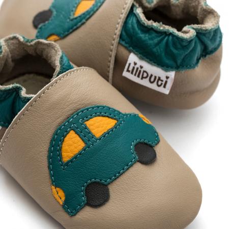 Pantofi cu talpă moale Liliputi cu crampoane antialunecare - Green Car2