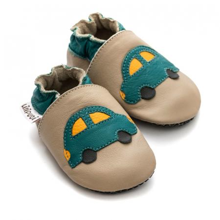 Pantofi cu talpă moale Liliputi cu crampoane antialunecare - Green Car1