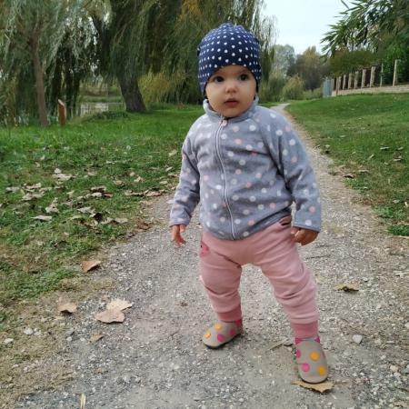 Pantofi cu talpă moale Liliputi cu crampoane antialunecare - Polka Dots Pink4