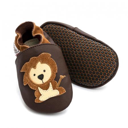 Pantofi cu talpă moale Liliputi cu crampoane antialunecare - Protector Lions [0]