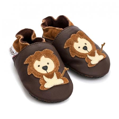 Pantofi cu talpă moale Liliputi cu crampoane antialunecare - Protector Lions [1]