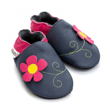 Pantofi cu talpă moale Liliputi cu crampoane antialunecare - Spring Flower1