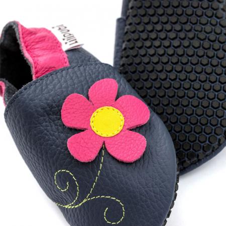 Pantofi cu talpă moale Liliputi cu crampoane antialunecare - Spring Flower2