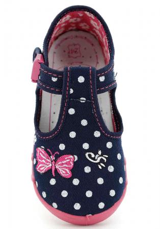 Pantofi fete cu bulinuțe albe și fluturaș brodat (cu cataramă), din material textil4
