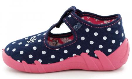 Pantofi fete cu bulinuțe albe și fluturaș brodat (cu cataramă), din material textil3