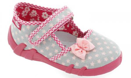 Pantofi fete cu fundita roz si stelute (cu scai), din material textil1