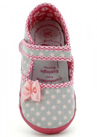 Pantofi fete cu fundita roz si stelute (cu scai), din material textil4