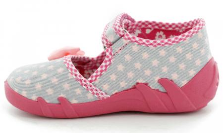 Pantofi fete cu fundita roz si stelute (cu scai), din material textil3