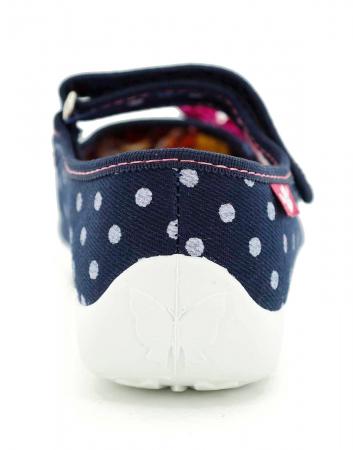 Papucei fete bleumarin cu bulinute albe si fundita roz (cu scai), din material textil5