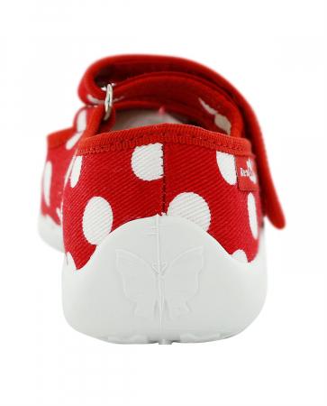 Papucei fete rosu cu buline albe si fundita alba (cu scai), din material textil5