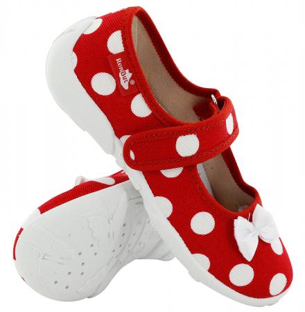 Papucei fete rosu cu buline albe si fundita alba (cu scai), din material textil0
