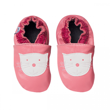Papucei piele - Cyclamen Kitty2