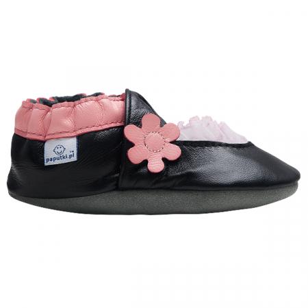 Papucei piele - Pink Balerini1