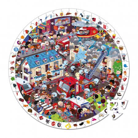 Puzzle de observație - Stația de pompieri - 208 de piese, Janod J027931