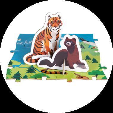 Puzzle educativ - Animale pe cale de la dispariție - 200 de piese, Janod J026763