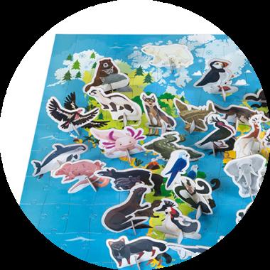 Puzzle educativ - Animale pe cale de la dispariție - 200 de piese, Janod J026765