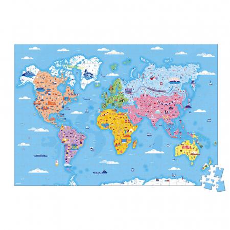 Puzzle educativ - Curiozități de pe mapamond - 350 de piese, Janod J02677 [2]