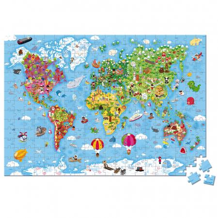 Puzzle gigant - Harta lumii - 300 de piese, Janod J02775 [1]