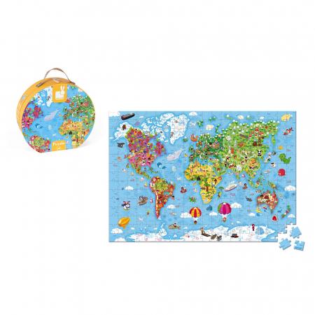 Puzzle gigant - Harta lumii - 300 de piese, Janod J02775 [3]