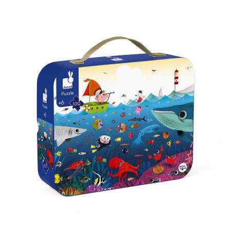 Puzzle în cutie - Lumea subacvatică - 100 de piese, Janod J02947 [0]