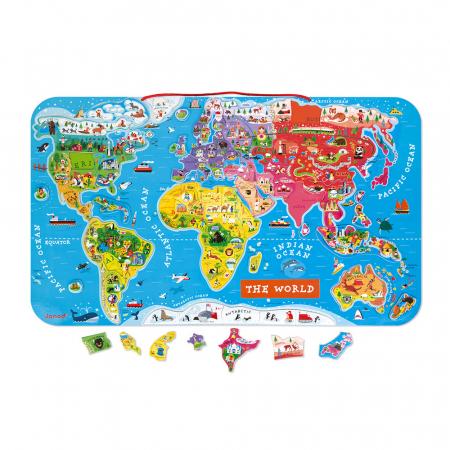 Puzzle magnetic - Harta lumii - 92 de piese, Janod J055040