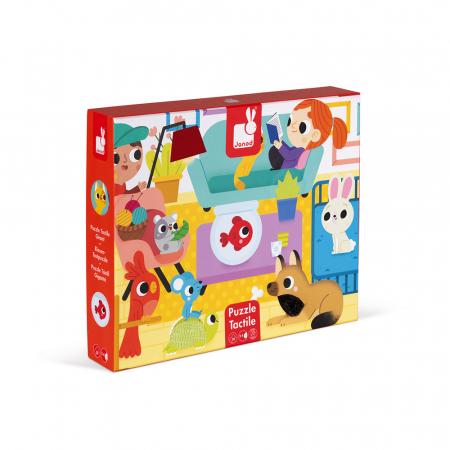 Puzzle tactil - Animale de companie - 20 de piese, Janod J026860