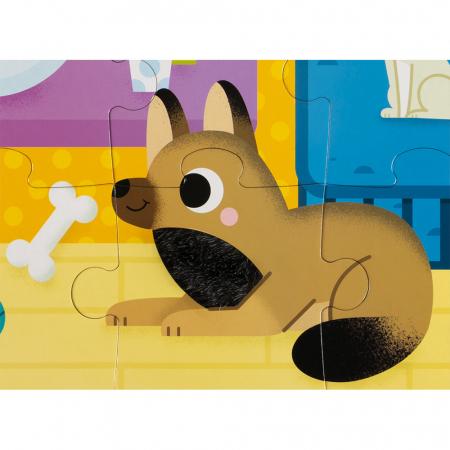 Puzzle tactil - Animale de companie - 20 de piese, Janod J026863