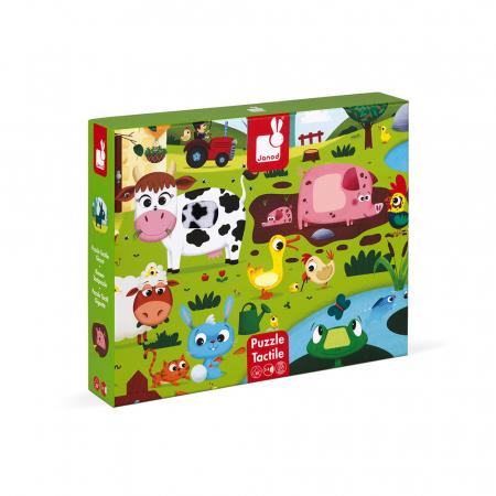 Puzzle tactil - Animale de la fermă - 20 de piese, Janod J027720