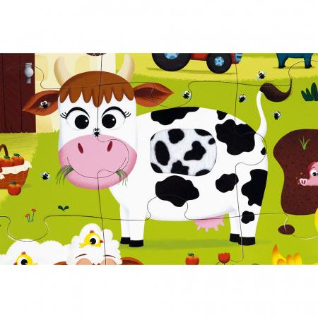 Puzzle tactil - Animale de la fermă - 20 de piese, Janod J027722
