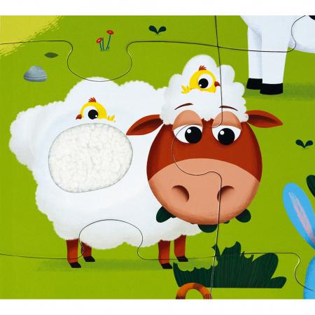 Puzzle tactil - Animale de la fermă - 20 de piese, Janod J027723