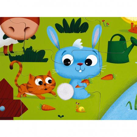 Puzzle tactil - Animale de la fermă - 20 de piese, Janod J027724