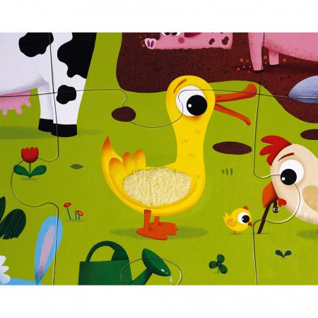 Puzzle tactil - Animale de la fermă - 20 de piese, Janod J027726