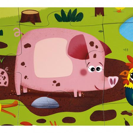Puzzle tactil - Animale de la fermă - 20 de piese, Janod J027727