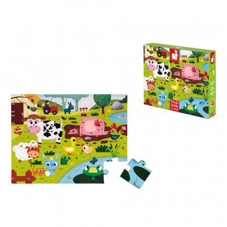 Puzzle tactil - Animale de la fermă - 20 de piese, Janod J027728