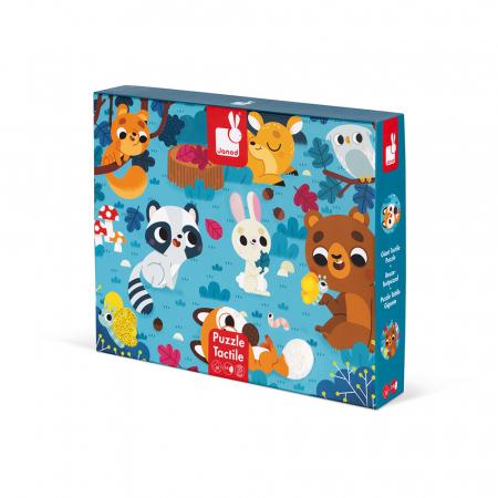 Puzzle tactil - Animale din pădure - 20 de piese, Janod J026850