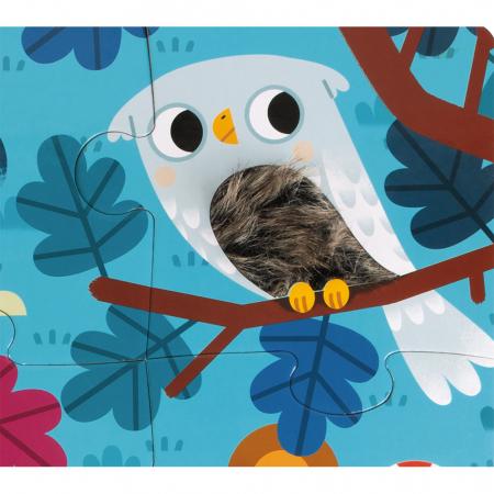 Puzzle tactil - Animale din pădure - 20 de piese, Janod J026852