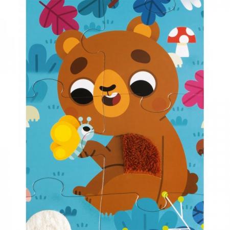 Puzzle tactil - Animale din pădure - 20 de piese, Janod J026854