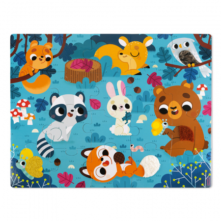 Puzzle tactil - Animale din pădure - 20 de piese, Janod J026856