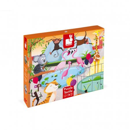Puzzle tactil - La grădina zoologica - 20 de piese, Janod J027740