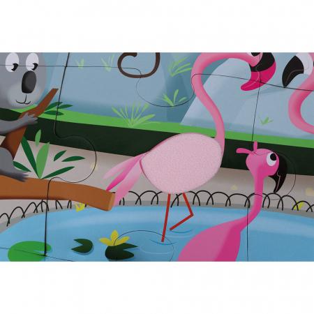 Puzzle tactil - La grădina zoologica - 20 de piese, Janod J027743