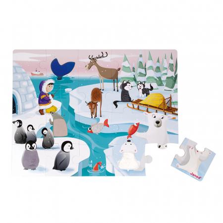 Puzzle tactil - Viața pe gheață - 20 de piese, Janod J027731