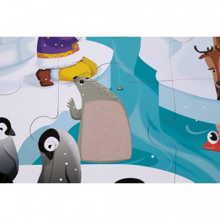 Puzzle tactil - Viața pe gheață - 20 de piese, Janod J027734