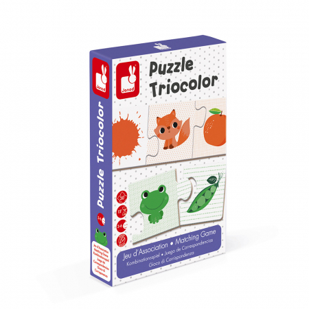 Puzzle tricolor - Joc de potrivire - 30 de piese, Janod J027090