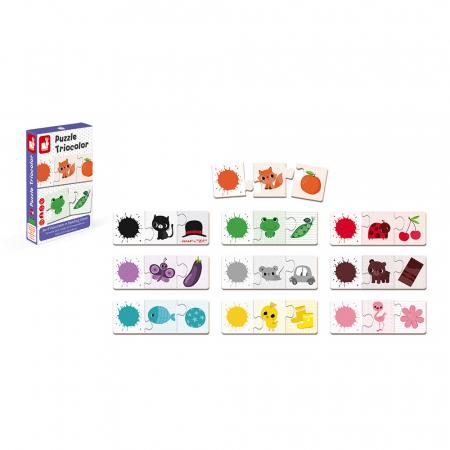 Puzzle tricolor - Joc de potrivire - 30 de piese, Janod J027095