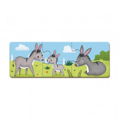 Puzzle trionimo - Joc de potrivire - Animale și copiii lor - 30 de piese, Janod J027101