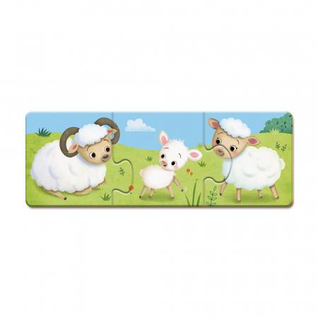 Puzzle trionimo - Joc de potrivire - Animale și copiii lor - 30 de piese, Janod J027102