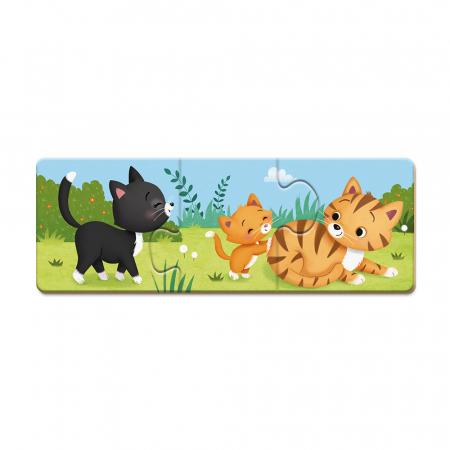 Puzzle trionimo - Joc de potrivire - Animale și copiii lor - 30 de piese, Janod J027104