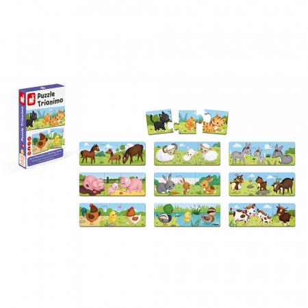 Puzzle trionimo - Joc de potrivire - Animale și copiii lor - 30 de piese, Janod J027105
