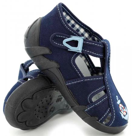 Sandale baieti cu motiv ancora (cu catarama), din material textil0